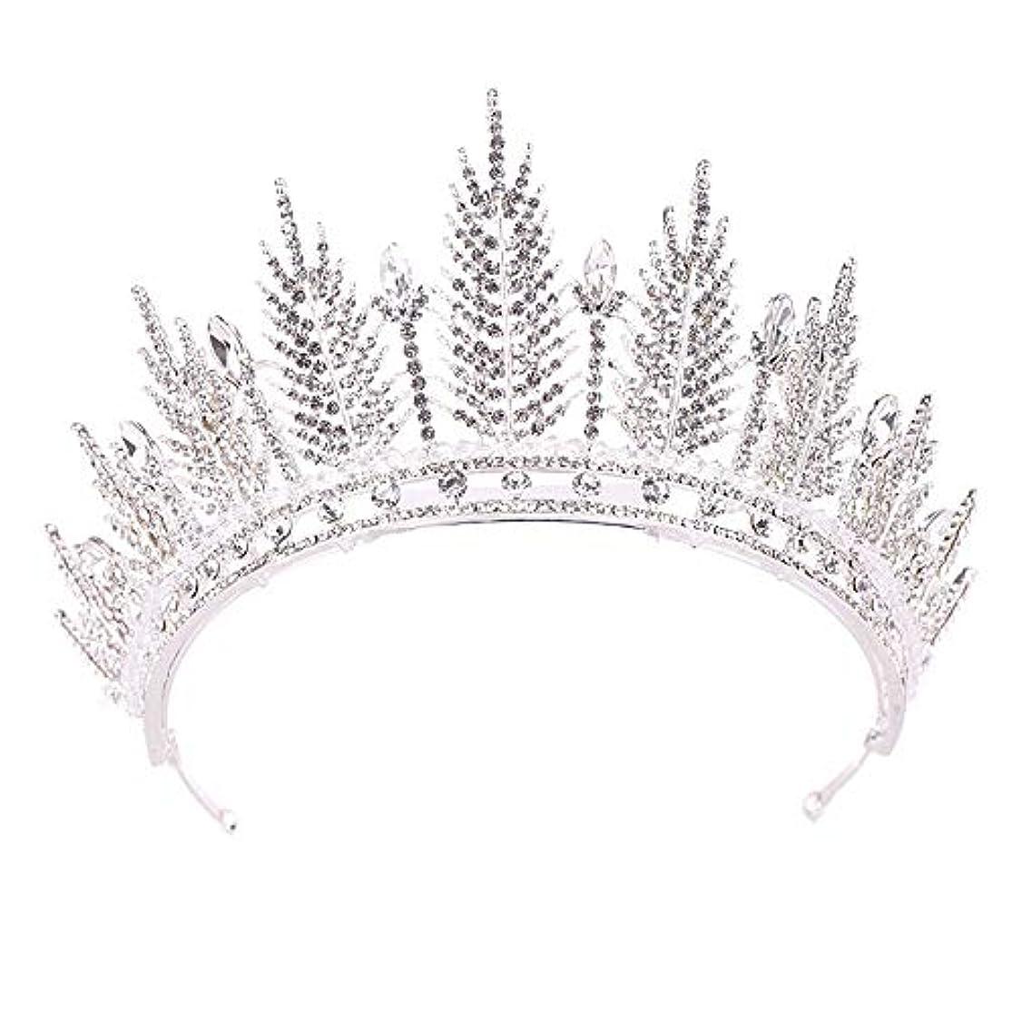 ヒロイン反毒水分ヴィンテージクリスタルクラウン ファッションクリスタルクラウンバロックパール高級雰囲気ブライダルクラウンヘッドドレスウェディングアクセサリー 女性のための (Color : Silver, Size : 14*7.5cm)