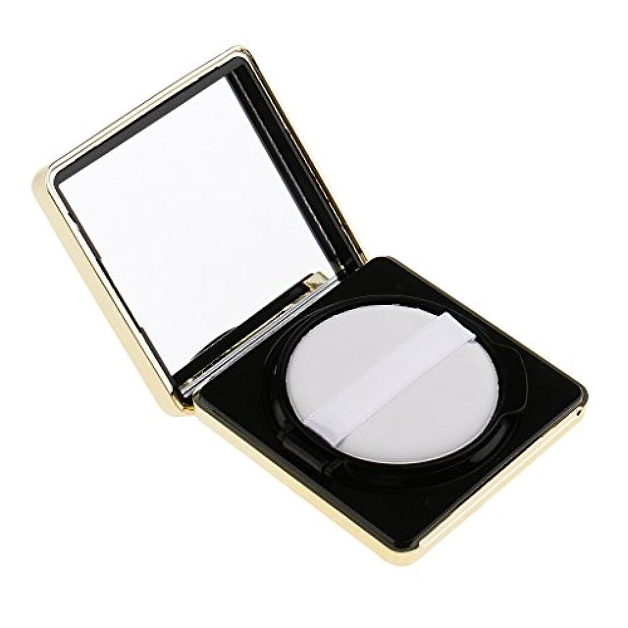 に話す金貸しパドルエアクッションボックス パウダーパフ コスメ パフ 空パレット メイクアップ DIY 化粧品 詰替え 旅行 便利 3色選べる - ブラック