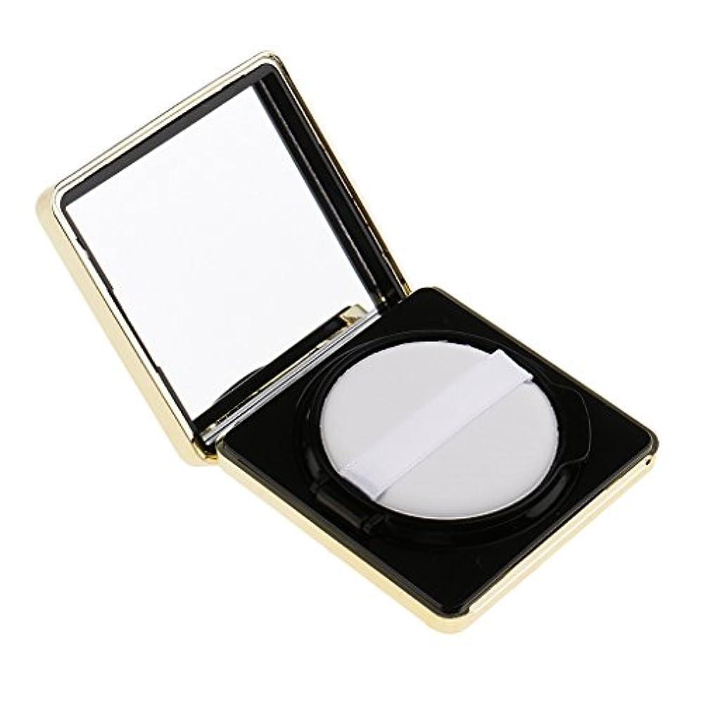 コック豆お風呂を持っているエアクッションボックス パウダーパフ コスメ パフ 空パレット メイクアップ DIY 化粧品 詰替え 旅行 便利 3色選べる - ブラック
