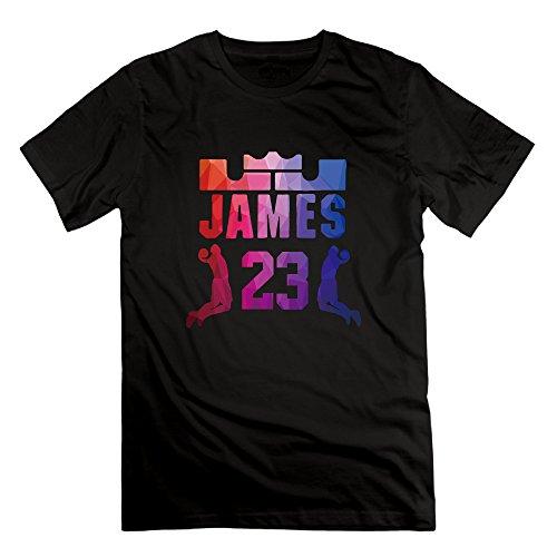 SmokyBird メンズ 半袖 tシャツ バスケ レブロン・ジェームズ きれい 原宿風 キング 人気プリントファッション S ブラック