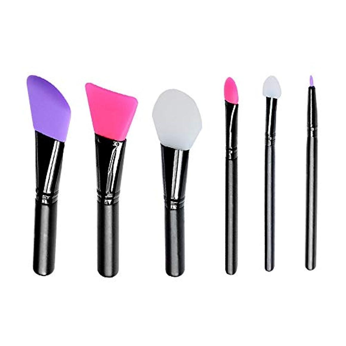 過剰シミュレートする前提条件Makeup brushes カラーメイクアップ6シリコーン混合マスクブラシ suits (Color : Black)