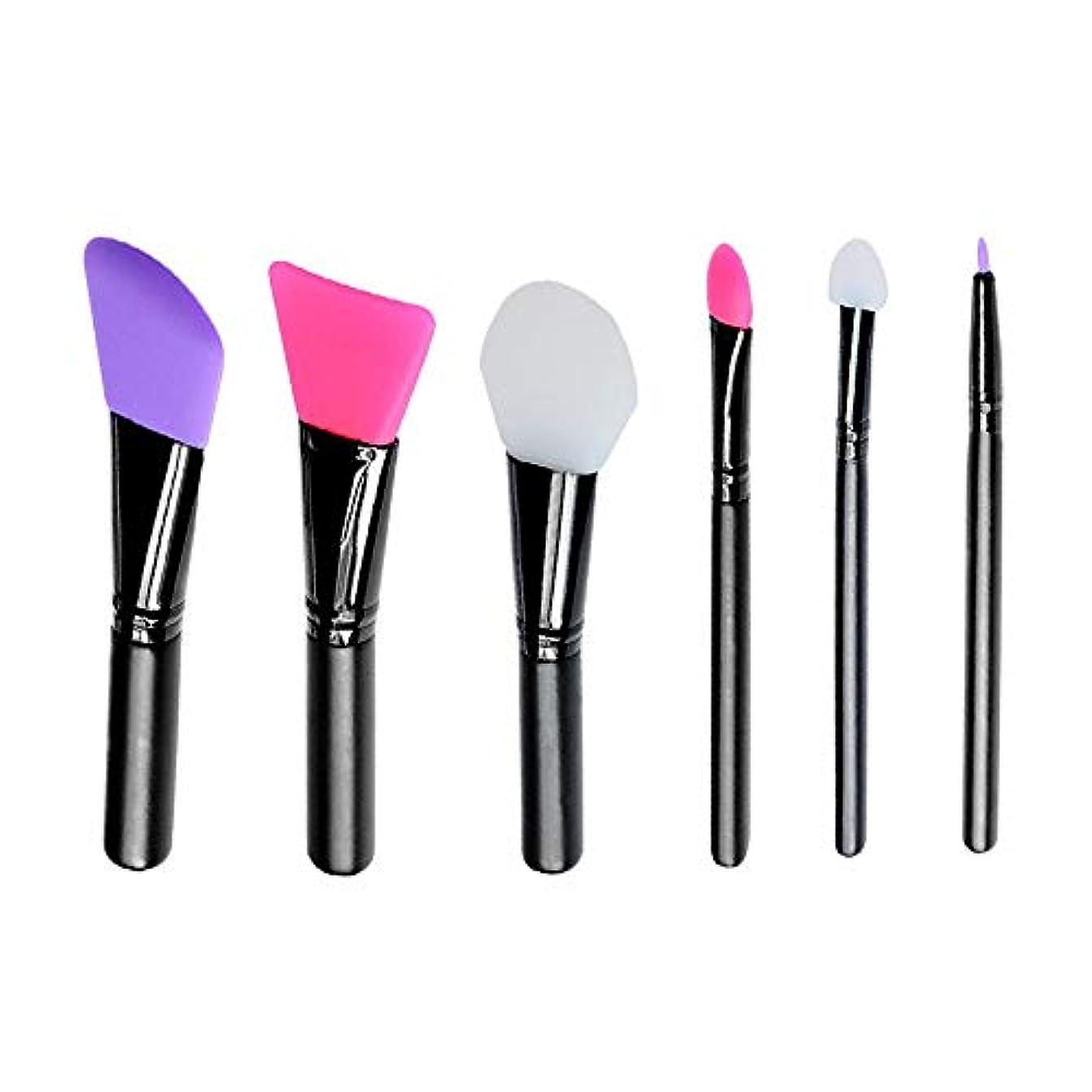プライバシーアライアンス請うMakeup brushes カラーメイクアップ6シリコーン混合マスクブラシ suits (Color : Black)