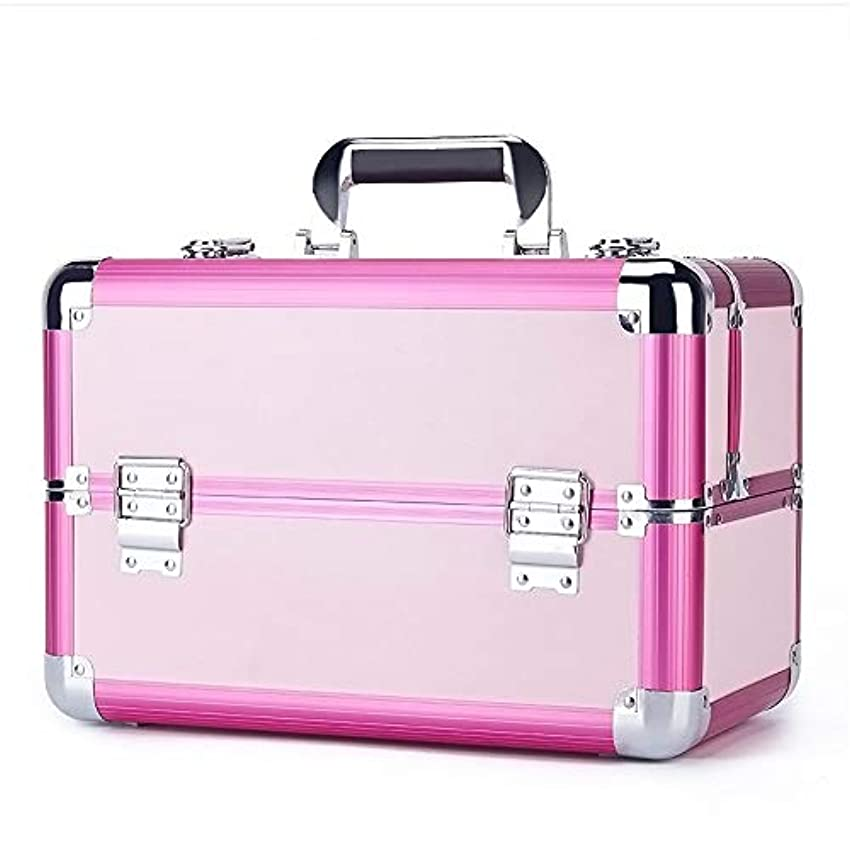 頻繁に二度比較的化粧オーガナイザーバッグ 旅行メイクアップバッグパターンメイクアップアーティストケーストレインボックス化粧品オーガナイザー収納用十代の女の子女性アーティスト 化粧品ケース (色 : ピンク)