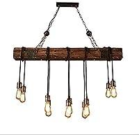 ランプノスタルジック産業のペンダントランプE27 * 10(木)バーテーブル・レストランコーヒーソリッドウッドシャンデリア天井ランプシャンデリアを吊るします