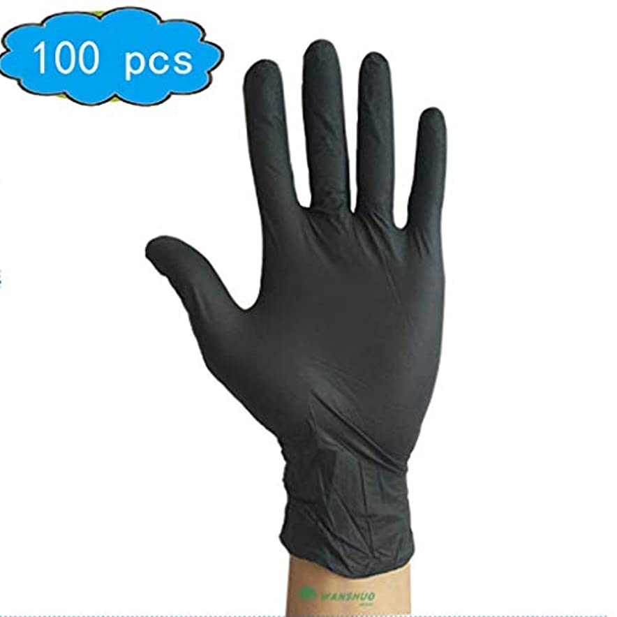 全体に苦痛骨折ホームキッチンクリーニング手の保護のためにDisposibleゴム手袋、手袋アンチスリップラテックス手袋 (Color : Black, Size : L)