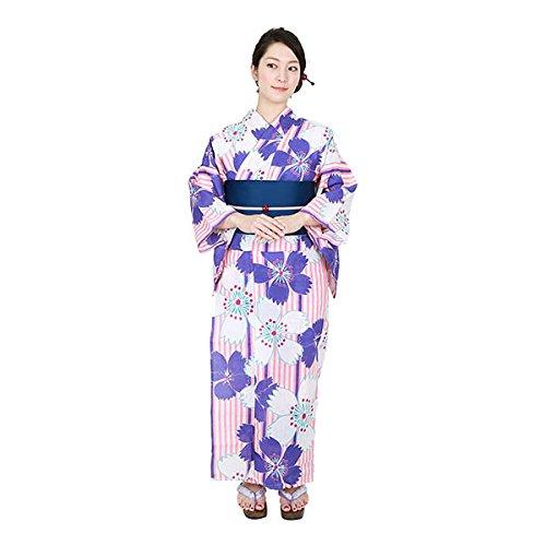 ゆかた屋hiyori 特選平織り浴衣-紫縦縞に撫子 レディース 浴衣・帯・下駄3点セット