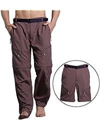 YJ.GWL 夏登山用パンツ コンバーチブル 速乾 パンツ メンズ ハイキングパンツ ショートパンツ ロングパンツ カーキー XXXL