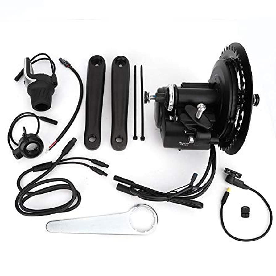 楽しませるエラー芸術的電動自転車変換キット、 36V 500Wトルクセンサー付きDIY eBikeミッドドライブクランクモーターキット電動バイクセントラルモーター変換キット XH-18 LCDディスプレイ計器コネクタキット