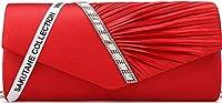 SAKUTANE(JP)パーティーバッグ クラッチ ビーズ レディース クラッチバッグ 結婚式 バッグ 大きめ ショルダー 3way プリーツサテン ラインストーンの美しい煌めき (レッド)