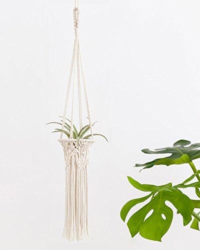 Mkono Mini Macrame Air Plant Holder Tillandsia Hanger Hanging Flameless Tea Lights Nursery Home Decor Mobiles Decoration