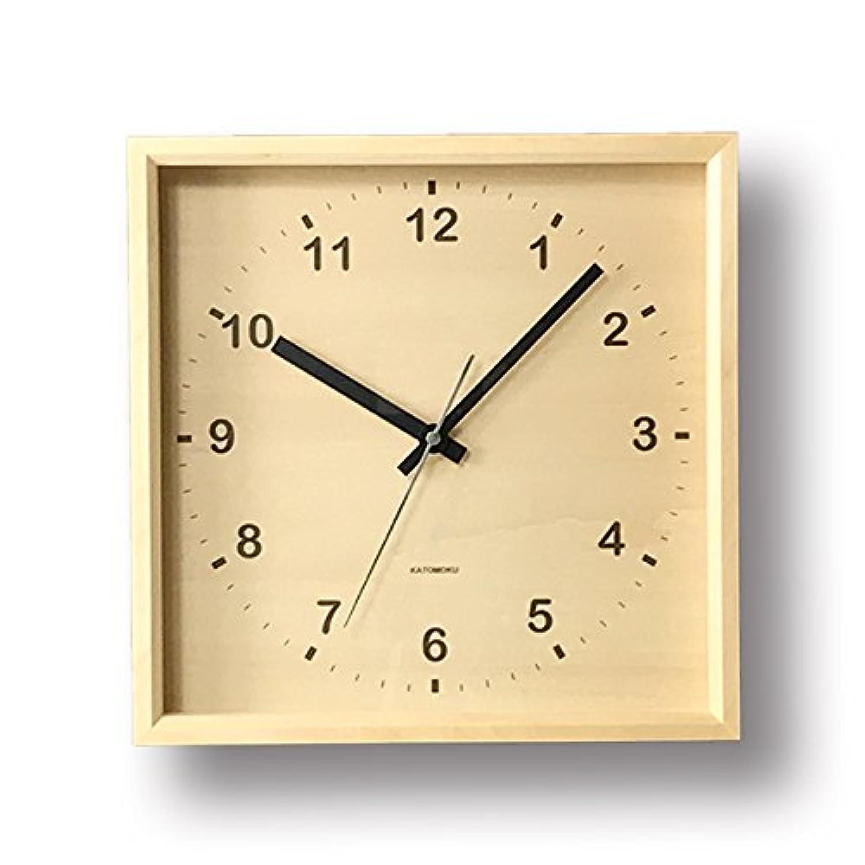 KATOMOKU muku square clock km-38N 木 バスウッド 連続秒針
