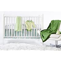 SwaddleDesigns 6 Piece Lightweight Crib Bedding Set with Crib Skirt with Luxury Adult Blanket Pure Green 0-3months [並行輸入品]