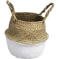 B Baosity バスケット プラント 織物 植木鉢 ホーム ストレージバッグ 花瓶  全3色3サイズ - ホワイト, S