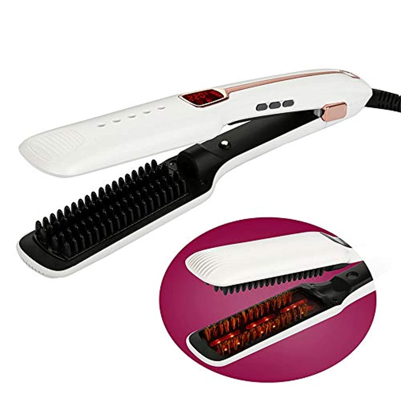 ストレートヘアスティック 携帯用旅行陶磁器の毛のストレートナすべての毛のストレートナのための調節可能な温度の赤外線蒸気のストレートナ すべてのタイプの髪に適しています (色 : 白, サイズ : 33.2x12.6x6.1cm)