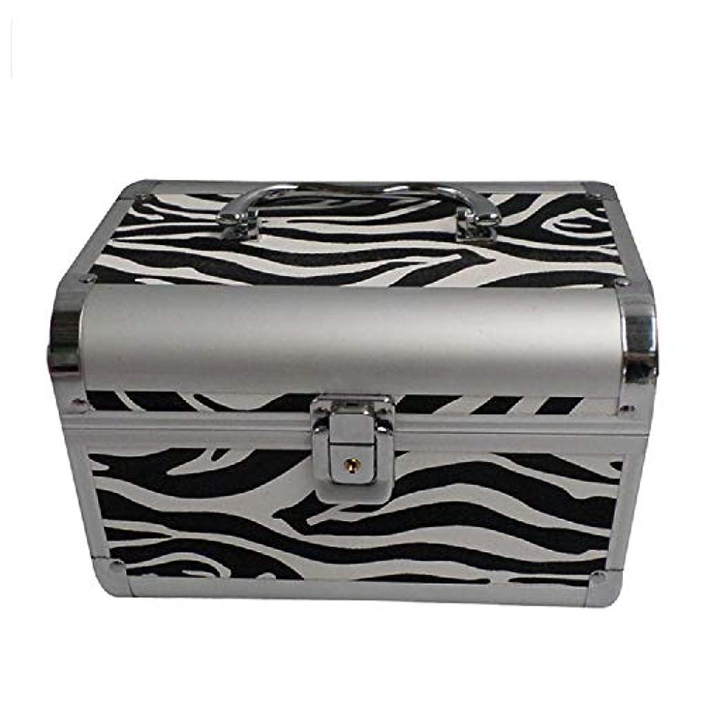 予報おっと振り向く化粧オーガナイザーバッグ ゼブラストライプ旅行用アクセサリーのポータブル化粧ケースシャンプーボディウォッシュパーソナルアイテムロックとハンドル付き収納 化粧品ケース