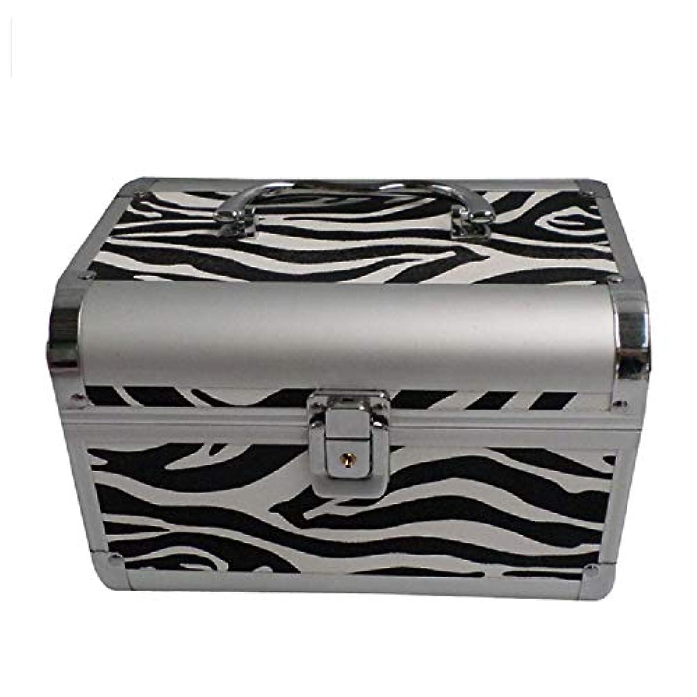 化粧オーガナイザーバッグ ゼブラストライプ旅行用アクセサリーのポータブル化粧ケースシャンプーボディウォッシュパーソナルアイテムロックとハンドル付き収納 化粧品ケース