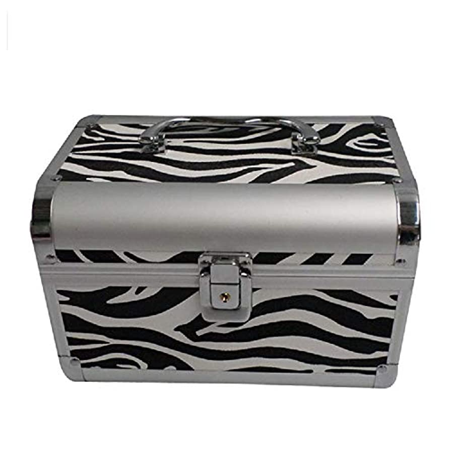 送金プライム従う化粧オーガナイザーバッグ ゼブラストライプ旅行用アクセサリーのポータブル化粧ケースシャンプーボディウォッシュパーソナルアイテムロックとハンドル付き収納 化粧品ケース