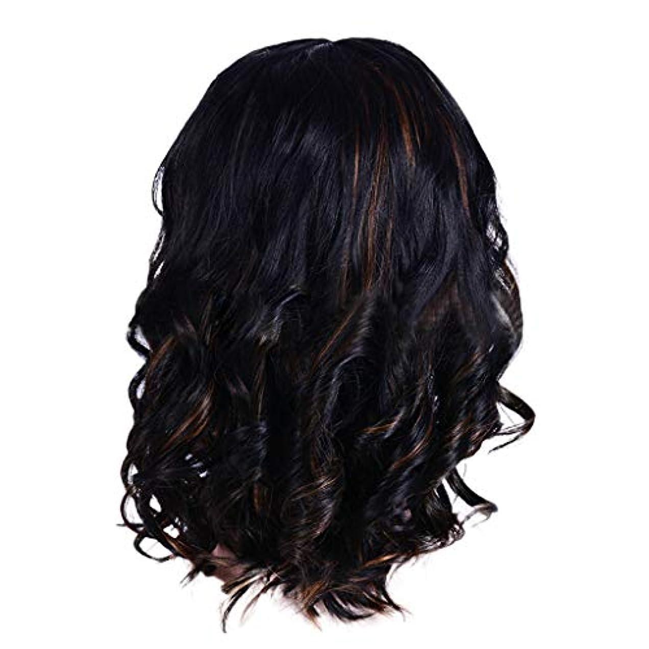十分反射フルートウィッグの女性の短い巻き毛の黒ボブエレガントなファッションウィッグ