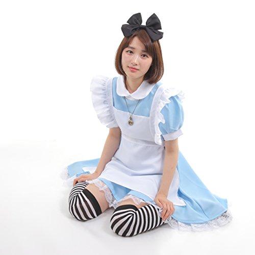 不思議の国のアリス 風 メイド服 衣装5点セット コスチューム レディース M
