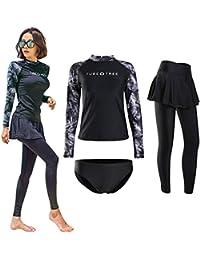 【TaoTech】 水着 レディース 3点セット 4点セット 5点セット 体型カバー ラッシュガード UVカット 長袖 前開き フィットネス レギンス パンツ ブラ