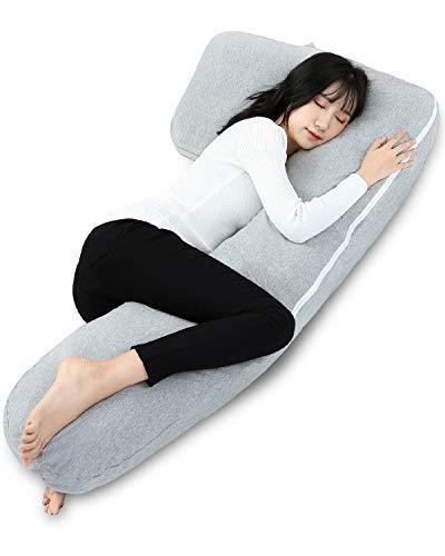 抱き枕 柔らかい 横向き寝枕 だきまくら メンズ 気持ちいい 腰枕 7字型 妊娠 抱き枕 ロング エンゼル枕 カバー洗える 補充用綿300g付き (グレー)
