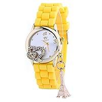 ユニーク カラフル ハート エッフェル塔 デザイン 文字盤 アナログ ウォッチ 腕 時計 ファッション アクセサリー おもしろ カジュアル レディース 女性 ( イエロー ) ZM-WATCH2-1233-YE