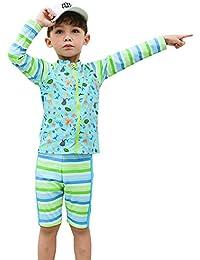 水着 男の子 ラッシュガード 長袖 90-160cm キッズ 水着 スクール水着 スイムウエア ボーイズ 上下セット水着 UVカット キャップ付き 3点セット