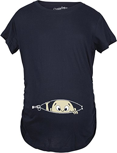 Maternity Baby Peeking T Shirt Funny Pregnancy Tee For Expecting Mothers (Navy) - M