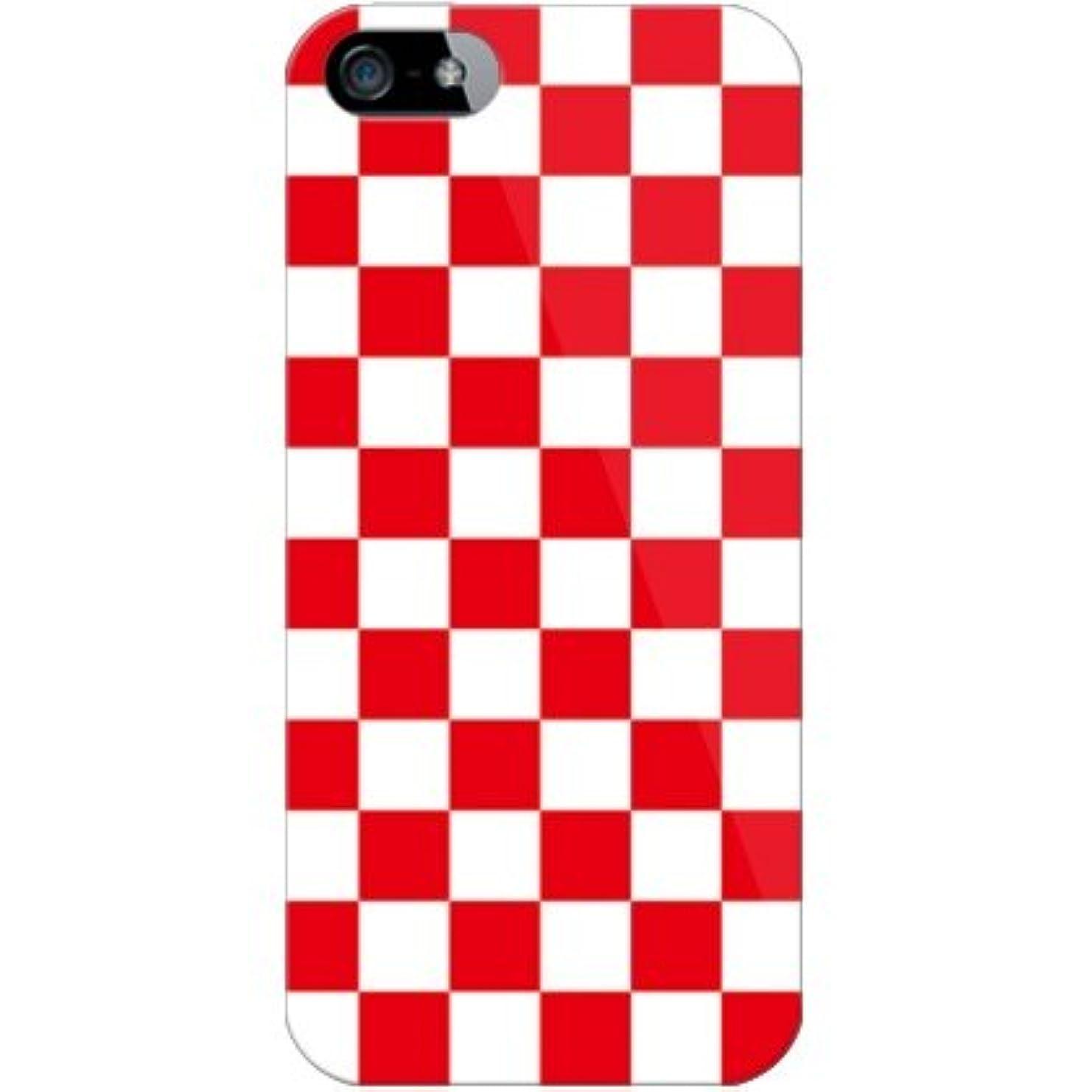 塩カヌー成人期SECOND SKIN チェッカーフラッグ レッド×ホワイト(クリア) / for iPhone 5/SoftBank SAPIP5-PCCL-299-Y079