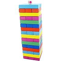 HKJCstore レイヤードビルディングブロック おもちゃ 積み重ねボードゲーム 木製トップリングタンブリング キッズ用 48個 HKJCstore