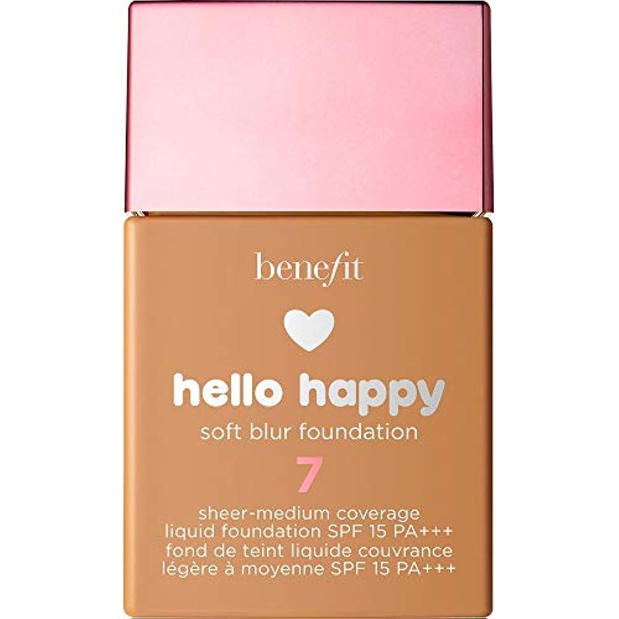 あたり容器ハンサム[Benefit ] 利益こんにちは幸せなソフトブラー基礎Spf15 30ミリリットル7 - 中規模たん暖かいです - Benefit Hello Happy Soft Blur Foundation SPF15 30ml...