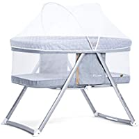 Maydolly(メイドリ) 折り畳み添い寝ベビーベッド ポータブル 軽量 通気性良い 収納便利 かや つき 新生児0ヶ月 ~ 24ヶ月 (ライトグレー)