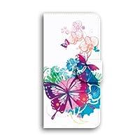 Apple iPhone 6 ケース 手帳型 iPhone 6 スマホケース 【蝶と新緑/透明】 キャメル ミラー&カードスロット付き アップル アイフォン 6 docomo au SoftBank SIMフリー