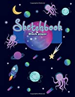 """Black paper sketchbook: For kids, 100 pages of 8.5""""x 11"""". Blank Black Paper Journal notebook: for creative note taking or journaling at school, class, work. Mixed media, Metallic gel pens/markers, Gel ink pens"""