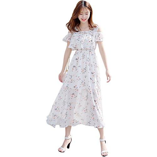 シフォン 肩出し ワンピース レディース 花柄 ドレス マキシ オフショル ワンピ(M, ホワイト)
