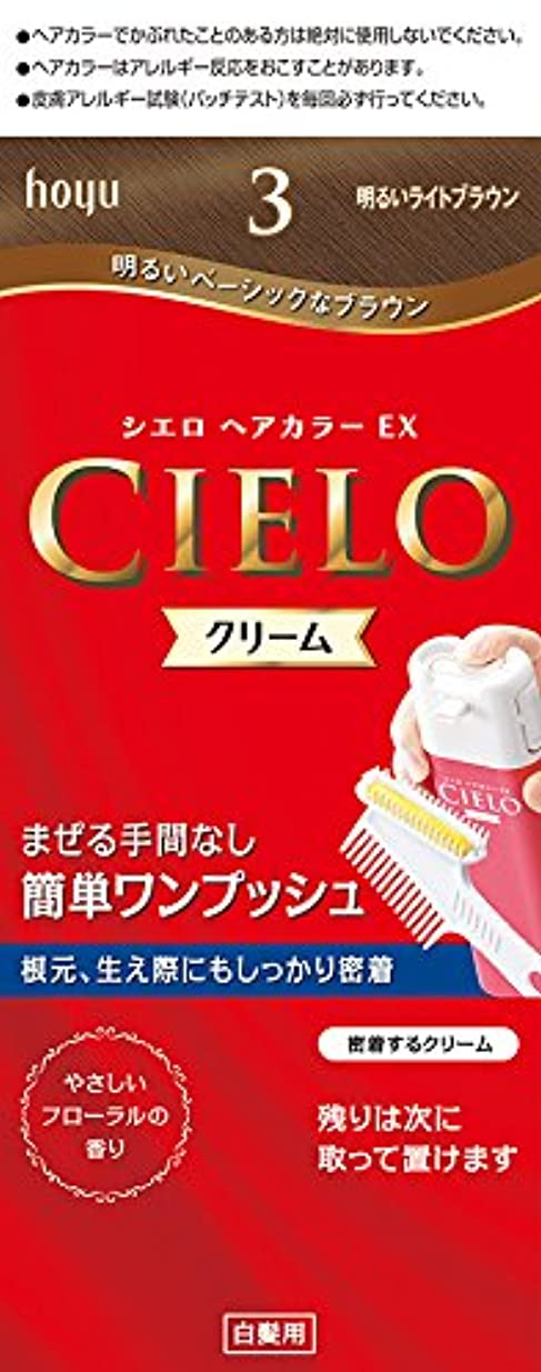 適用済みトレーニング明快ホーユー シエロ ヘアカラーEX クリーム 3 (明るいライトブラウン) 1剤40g+2剤40g [医薬部外品]