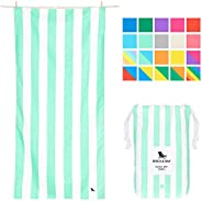 Compact Sand Free Beach Towel - Narabeen Green, Large (160x80cm, 63x31) - Compact Towel for Travel, Pastel Str