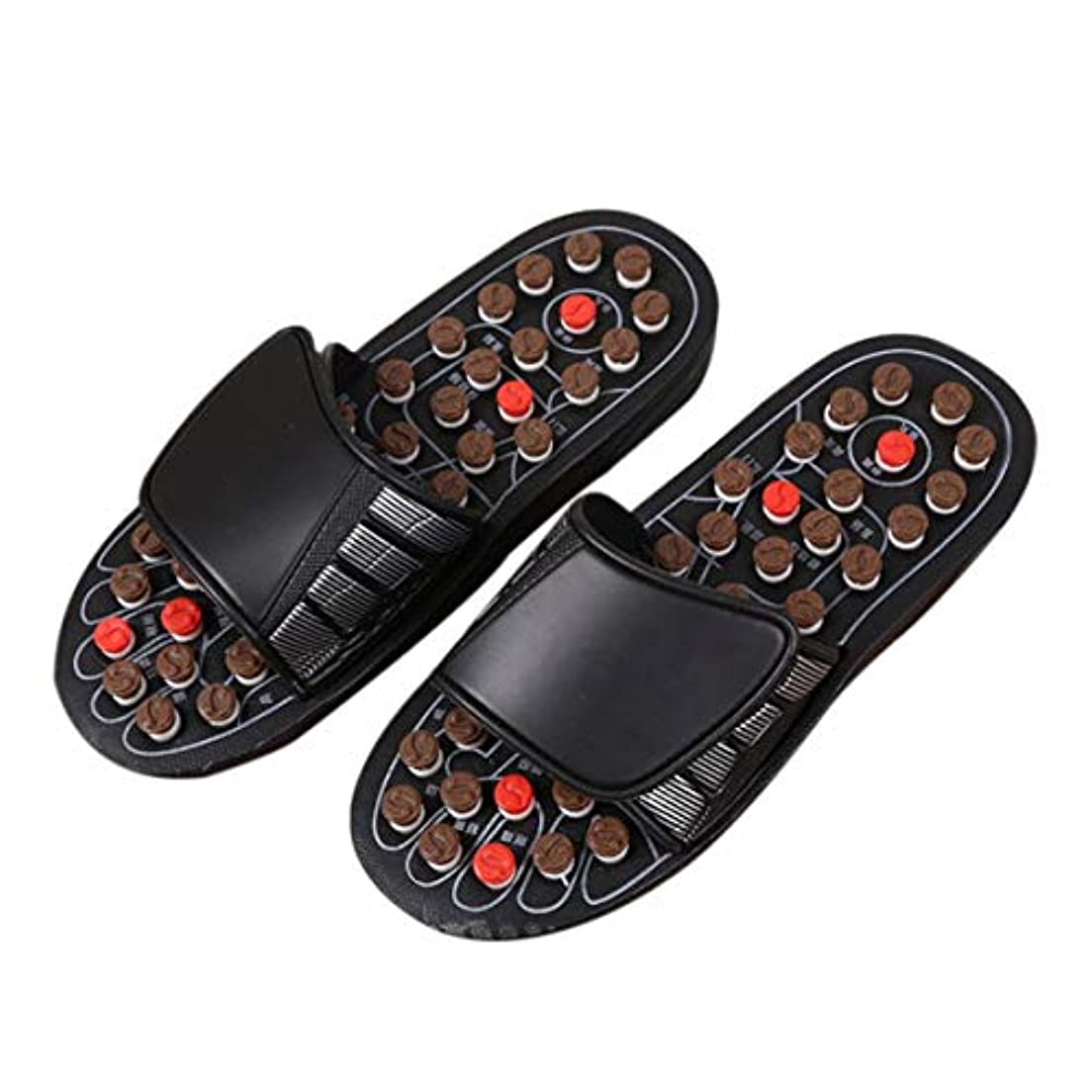 ええ混沌マキシム1ピースブラックAcu-PointスリッパAccupressure Massage Foot Massager Flip Flop Sandals For Women Men Ka-Best-