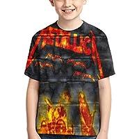 夏かわいい男の子半袖Tシャツ 音楽Metallica フルプリント、両面印刷、毎日の旅行、学校、買い物、買い物、スポーツ、旅行、パーティー