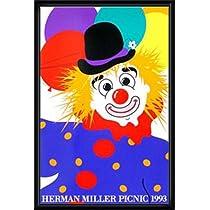 ポスター ハーマンミラー Clown サマーピクニック 1993年 Kathy Stanton 額装品 ウッドハイグレードフレーム(ブラック)