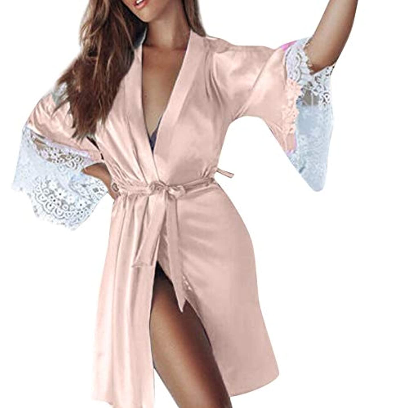 Joielmal 女性用バスローブ ガウンバスローブ ローブ 浴衣式 ワンピース 前開き サテン生地 シルクのような肌触り おしゃれ 長袖 ロング丈 着物 レース飾り ワンサイズ 春 夏 S-3XL