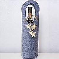 BEE&BLUE クリスマス ワインボトルバッグ カバー ワインケース 収納袋 手提げ袋 プレゼント 贈り物 高級 フェルト 木製ペンダント付き