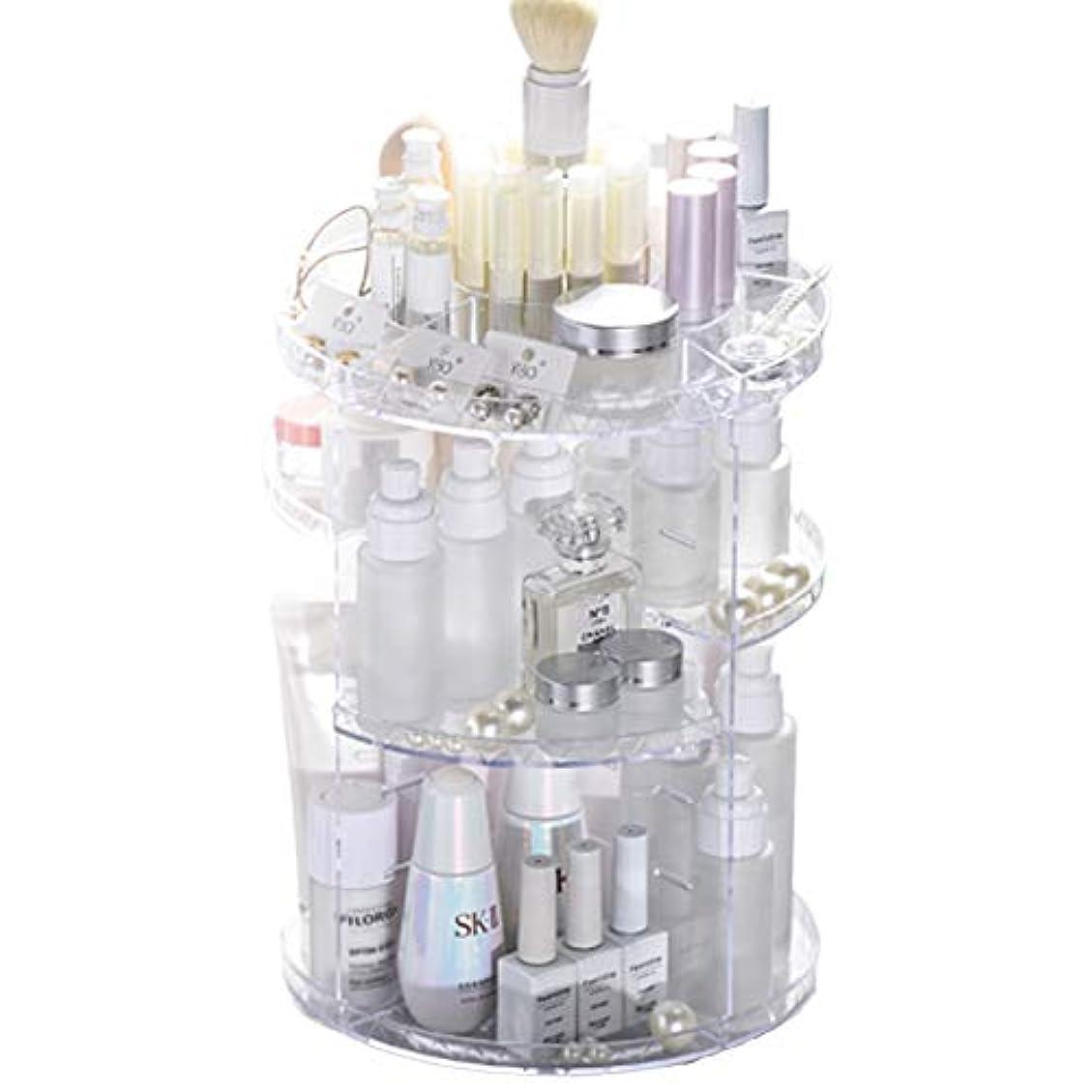 幼児傭兵フィッティング化粧品収納ボックス 360度回転式 メイクボックス 透明 おしゃれ 大容量 コスメ収納スタンド コスメ収納 アクセサリー デスクトップシェルフ (透明)