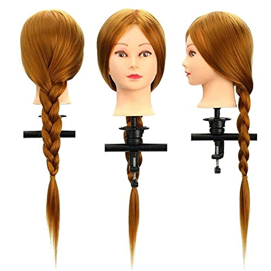 つまずくレキシコン作物ウイッグ マネキンヘッド 表クランプ30%本物の人間のロング理髪カットマネキンの髪トレーニング頭サロン 練習用 (色 : 褐色, サイズ : 26