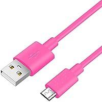 カラフルMicro USB充電ケーブルデータライン、Galaxy、Xperia、Android各種 その他USB機器対応、1.5メートル、ピンク