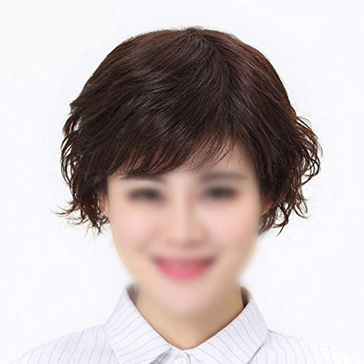 糞アサーシビックYOUQIU 女性のかつらのために前髪人毛のかつら有名人を持つ実バージン人毛ショートウィッグスタイリッシュ (色 : 黒, サイズ : Mechanism)