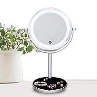 シェービングミラーLED照明付き化粧鏡 - 1倍/ 5倍拡大鏡タッチコントロール、スタンド付き両面拡大化粧鏡、(5倍調光ミラー)バスルームミラー (色 : 金属 きんぞく, サイズ さいず : 7インチ)