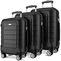 Suitcase,Lightweight 4 Wheel ABS Hard Shell Fashion Luggage Suitcase Business Universal Wheel Trolley,Black,28inch
