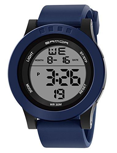 6e0ef49823 キッズ用デジタル腕時計 スポーツウオッチ ブルー アラーム 防水 ledバックライトストップウオッチ カレンダー オシャレ 誕生