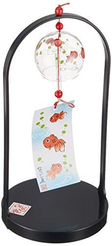 風鈴 卓上小江戸風鈴(金魚) [ガラス] [ガラス横巾 5cm 手籠台 高さ22 x 横巾11.5cm] 納涼 インテリア かわいい 涼しい 夏